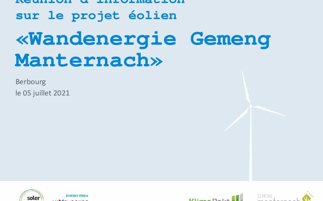 Réunion d'information / Informatiounsversammlung «Wandenergie Gemeng Manternach»