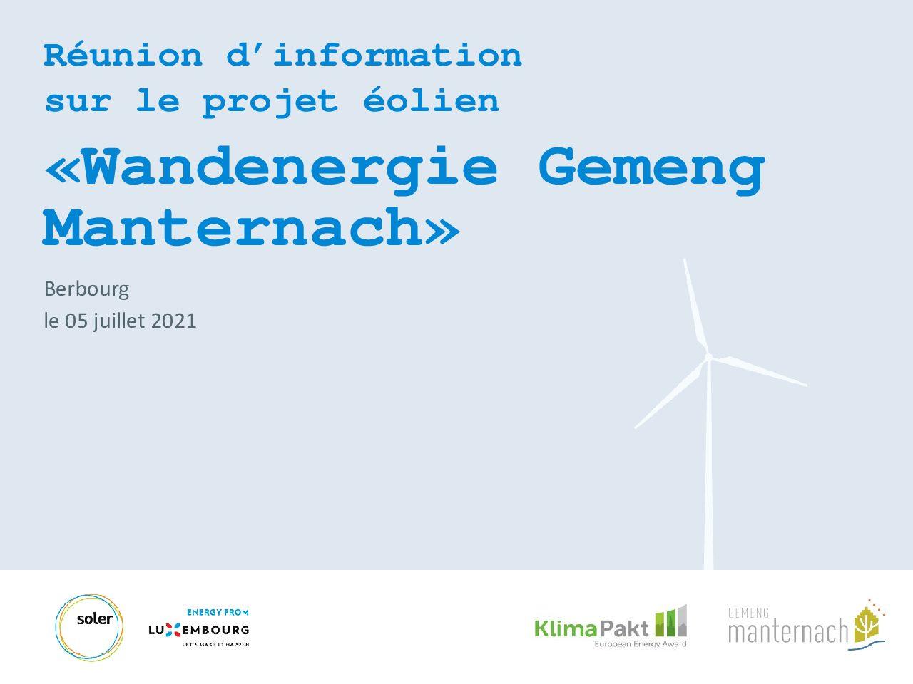 """Réunion d'information / Informatiounsversammlung """"Wandenergie Gemeng Manternach"""""""